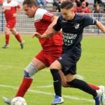 Nach der ersten torlosen Partie derSaison am vergangenen Wochenende ist die Offensivreihe der TSG Calbe um Noel Stegemann (r.) im Derby besonders gefordert. | Foto: Kevin Sager