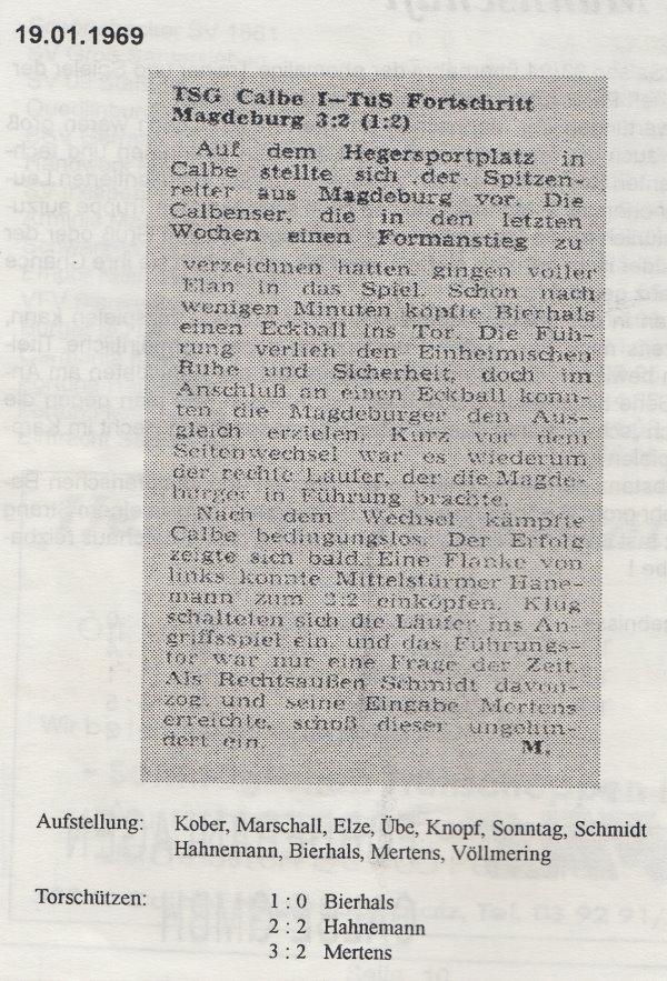 Spielbericht von 1969