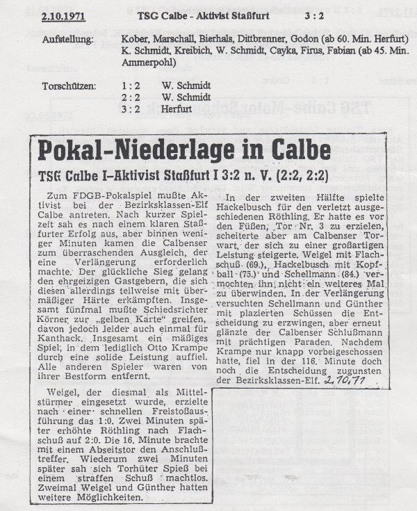 Zweite Runde im FDGB-Pokal.