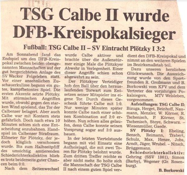 Zeitungsbericht vom Kreispokalsieg der Zweiten.
