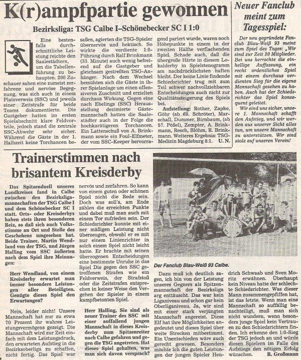 Zeitungsbericht zum Heimsieg in der Bezirksliga gegen den Schönebecker SC.
