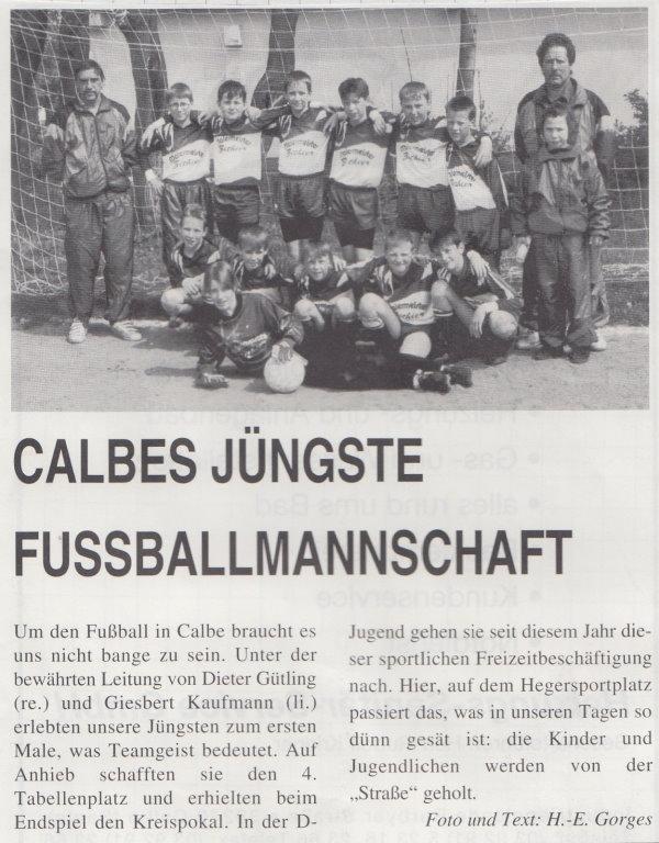 Artikel im Calbenser Blatt über die erfolgreiche D-Jugend der TSG Calbe.