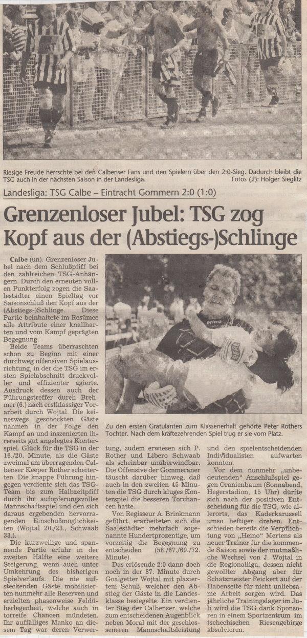 Volksstimme-Bericht vom Abschluss der Landesligasaison 1996/1997.