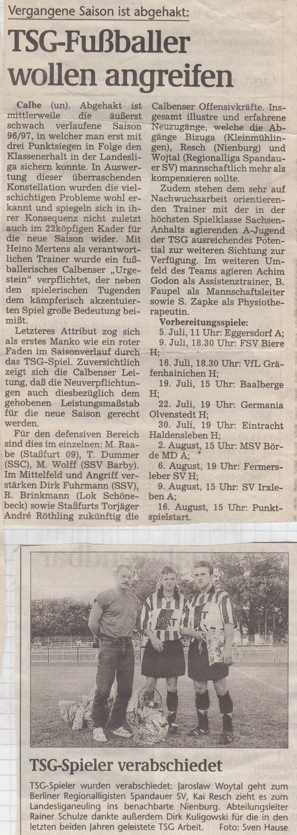 Rückblick auf die Saison 1996/1997 in der Landesliga Mitte.