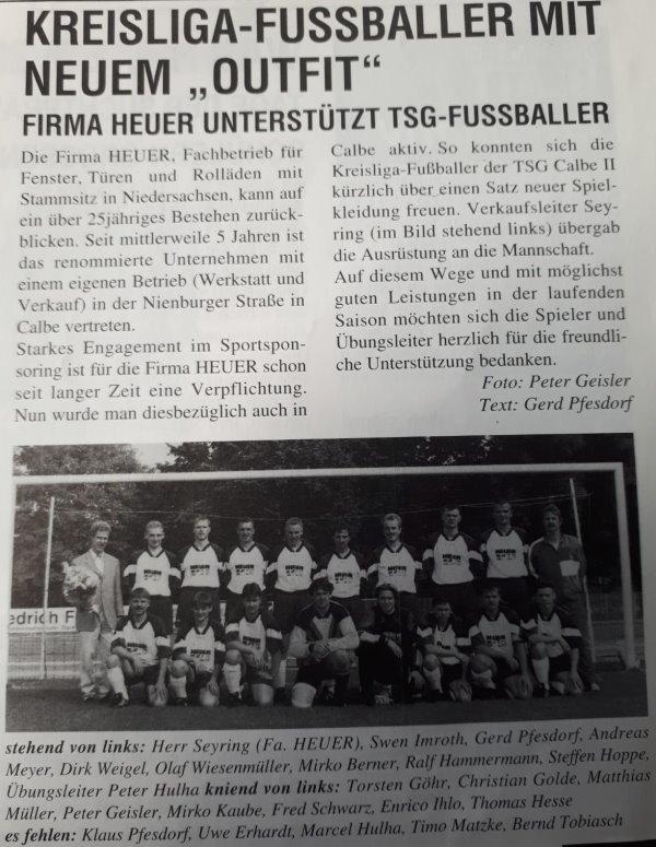 Bericht über die Sponsoringleistung für die zweite Männermannschaft der TSG.