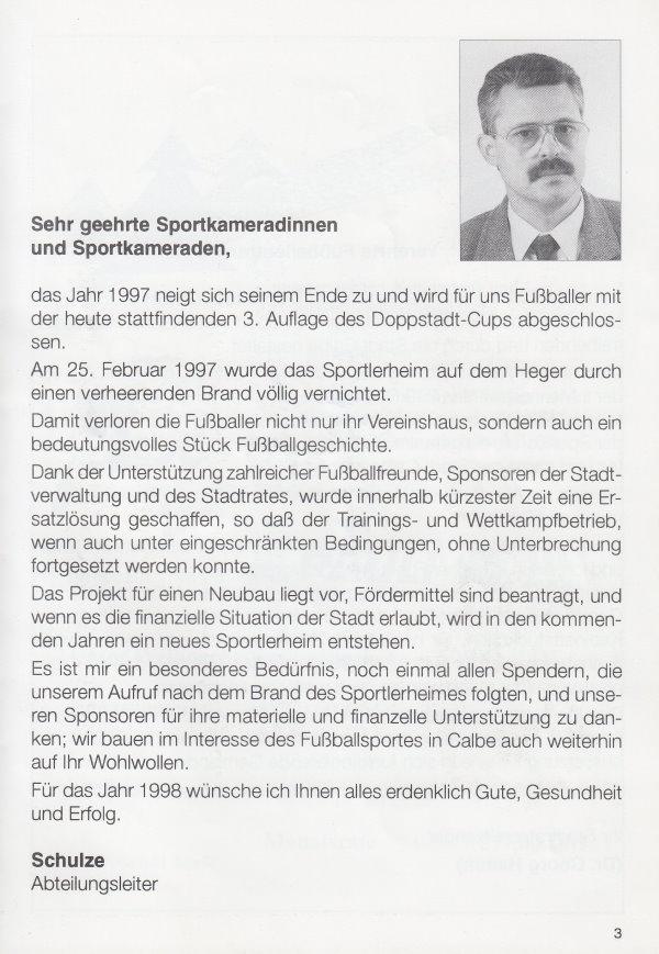 Grußworte vom Abteilungsleiter Rainer Schulze.