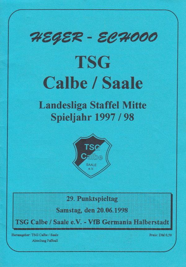 Deckblatt zum Programmheft des Spiels gegen Germania Halberstadt.
