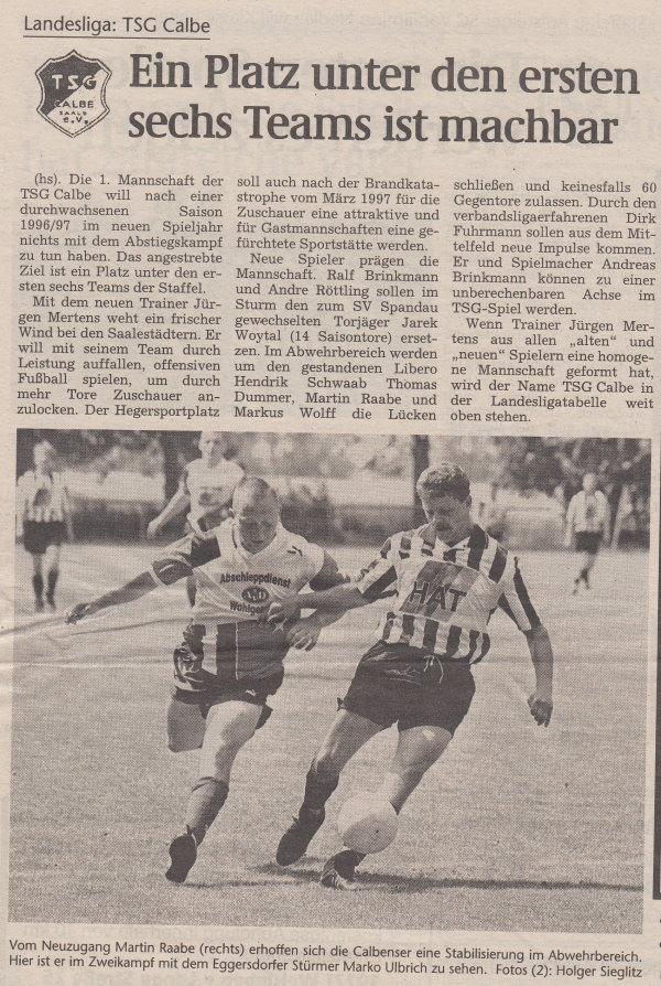 Volksstimme-Sonderausgabe zur Saison 1997/1998 (Teil 1).