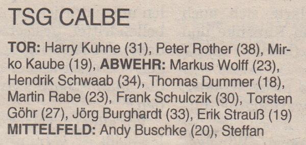 Volksstimme-Sonderausgabe zur Saison 1997/1998 (Kader).