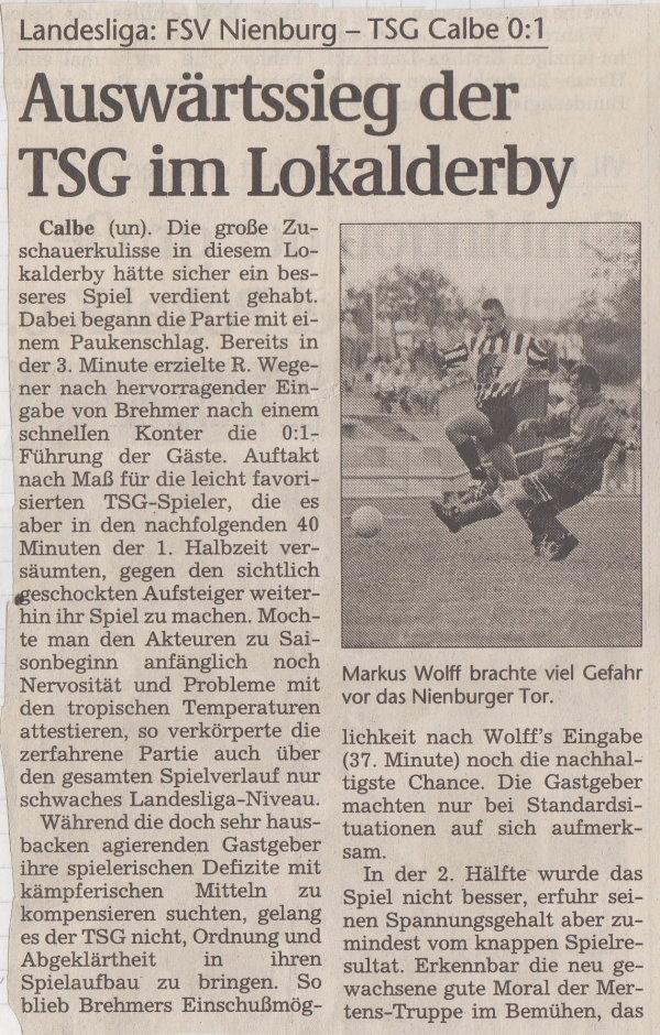 Volksstimme-Bericht vom 1. Spieltag der Landesligasaison 1997/1998 (Teil 1).