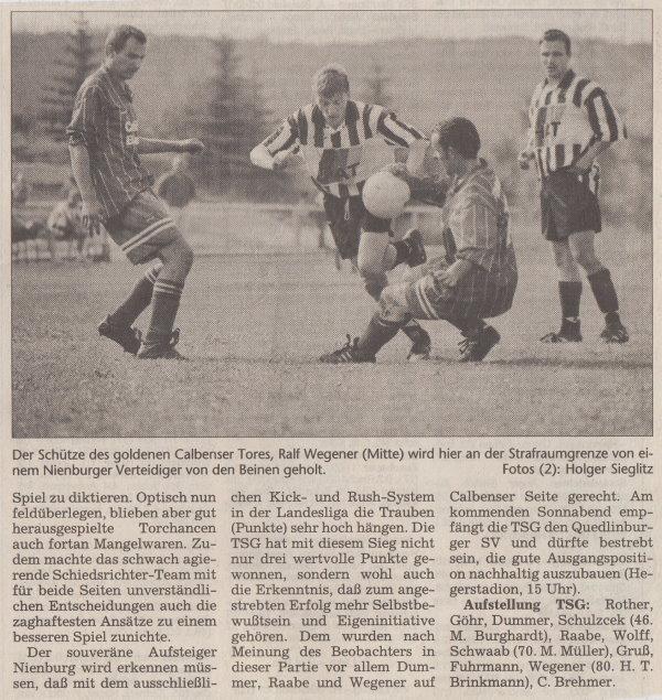 Volksstimme-Bericht vom 1. Spieltag der Landesligasaison 1997/1998 (Teil 2).