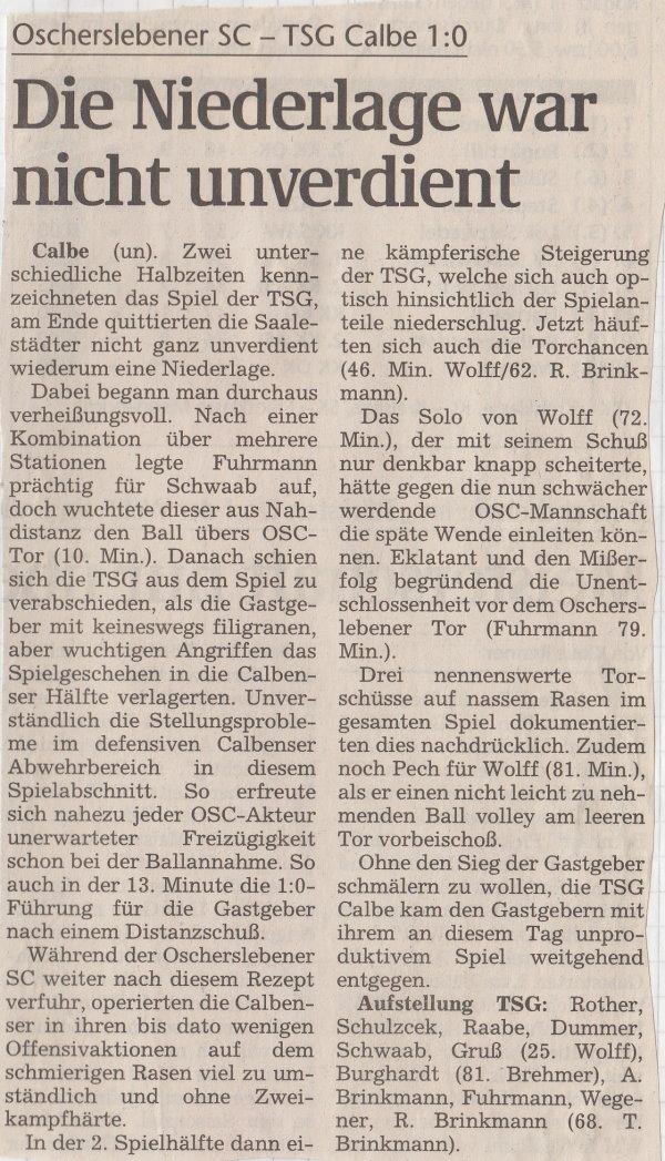 Volksstimme-Bericht vom 10. Spieltag der Landesligasaison 1997/1998.