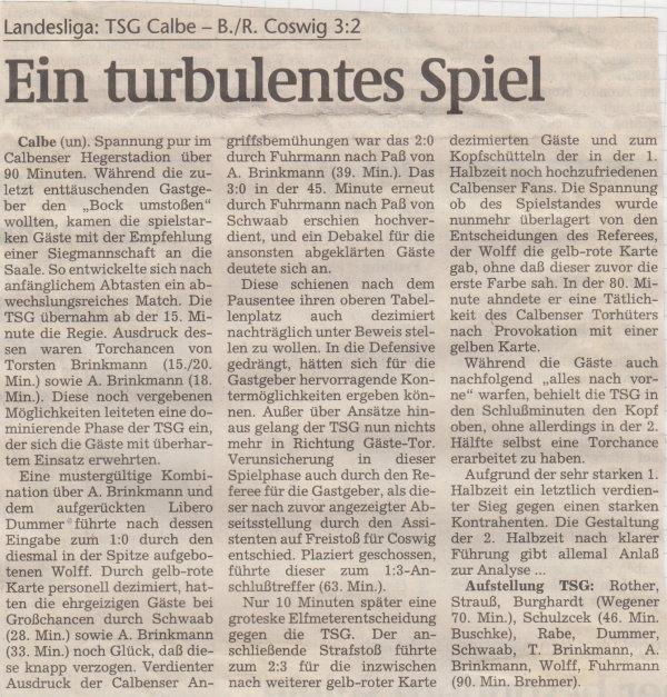 Volksstimme-Bericht vom 11. Spieltag der Landesligasaison 1997/1998.