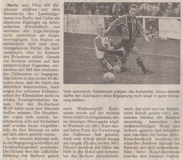 Volksstimme-Bericht vom 12. Spieltag der Landesligasaison 1997/1998 (Teil 1).