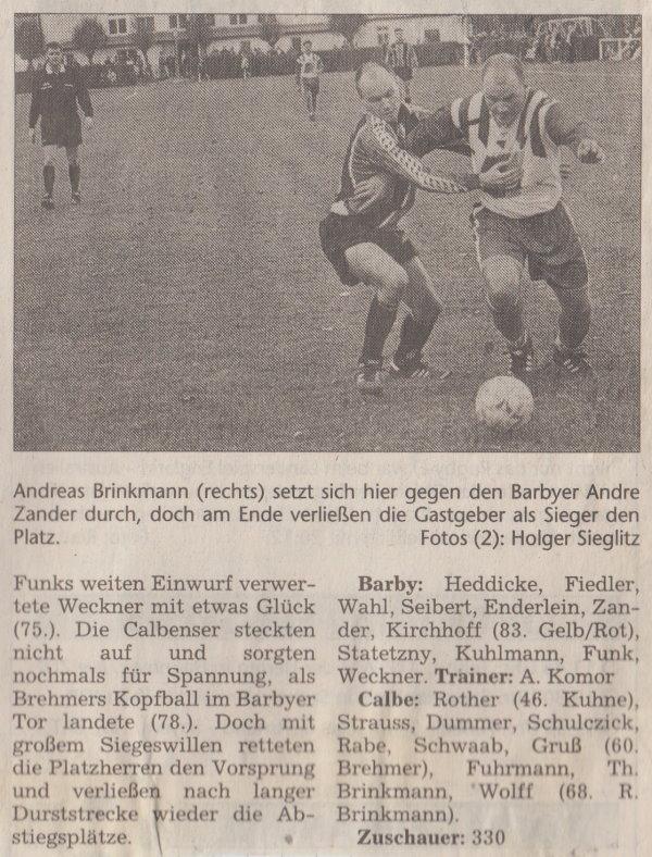 Volksstimme-Bericht vom 12. Spieltag der Landesligasaison 1997/1998 (Teil2).