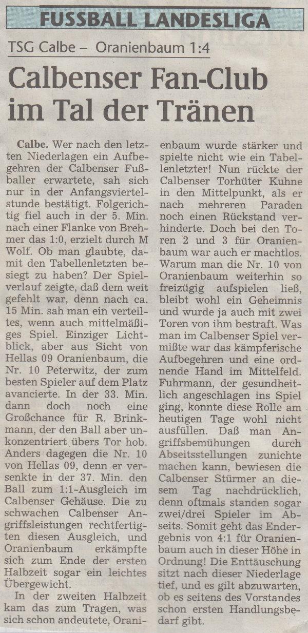 Volksstimme-Bericht vom 13. Spieltag der Landesligasaison 1997/1998.