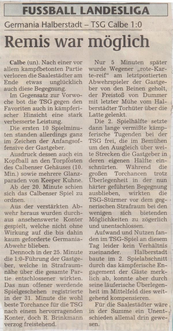Volksstimme-Bericht vom 14. Spieltag der Landesligasaison 1997/1998.