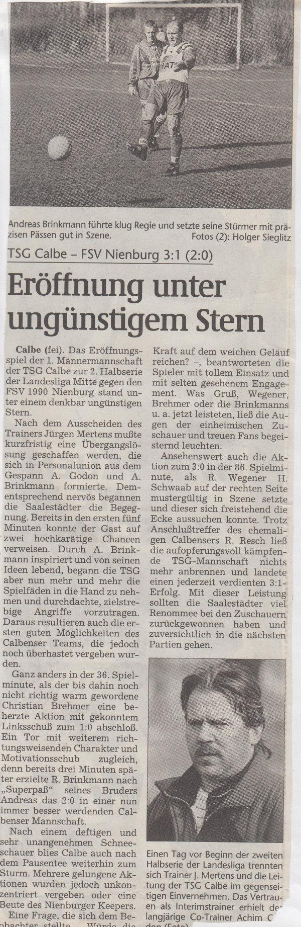 Volksstimme-Bericht vom 16. Spieltag der Landesligasaison 1997/1998.