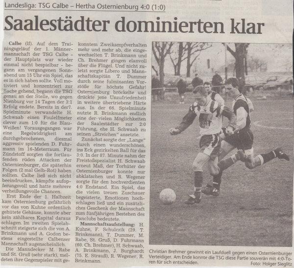 Volksstimme-Bericht vom 18. Spieltag der Landesligasaison 1997/1998.