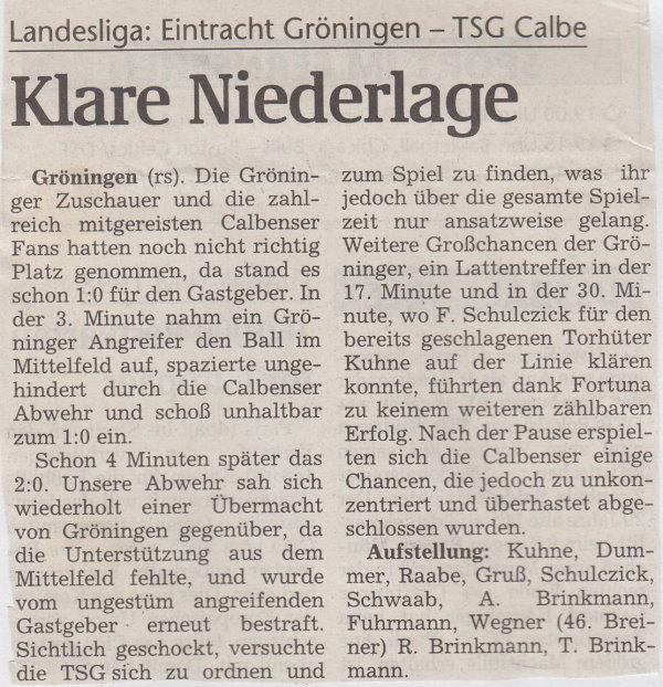 Volksstimme-Bericht vom 19. Spieltag der Landesligasaison 1997/1998.