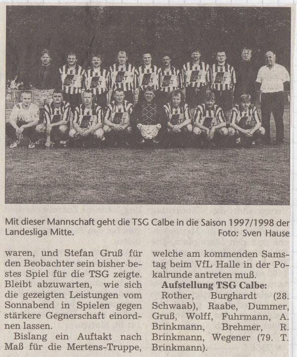 Volksstimme-Bericht vom 2. Spieltag der Landesligasaison 1997/1998 (Teil 2).