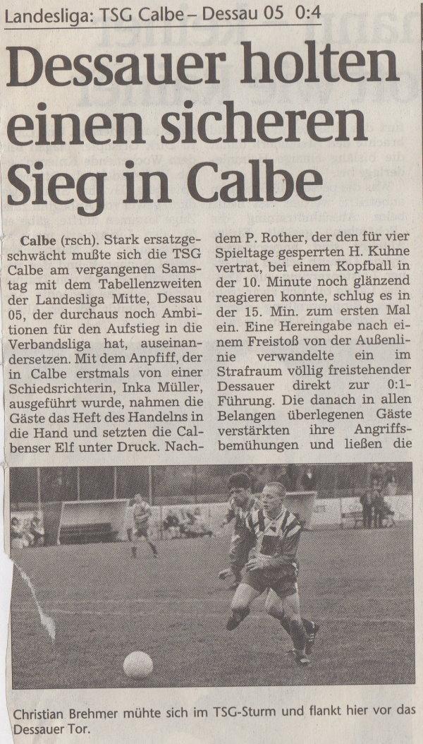 Volksstimme-Bericht vom 20. Spieltag der Landesligasaison 1997/1998 (Teil 1).