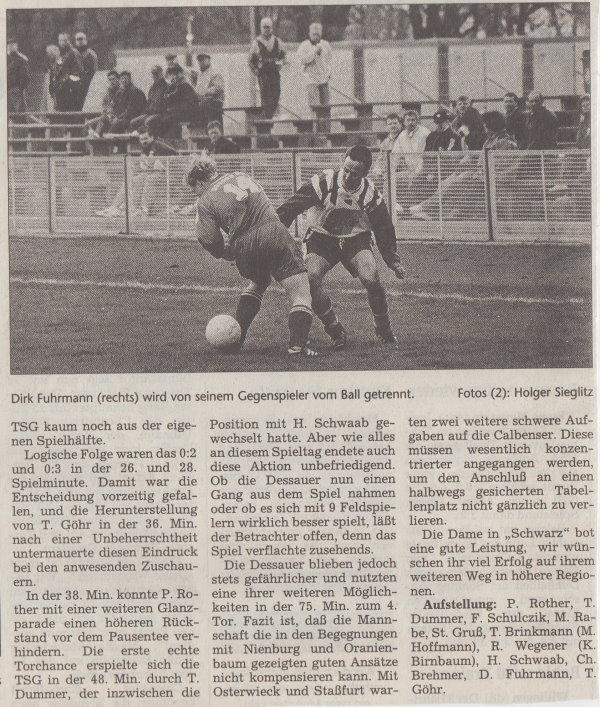 Volksstimme-Bericht vom 20. Spieltag der Landesligasaison 1997/1998 (Teil 2).
