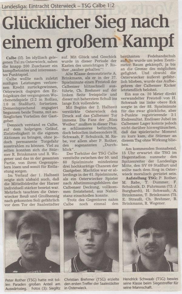 Volksstimme-Bericht vom 21. Spieltag der Landesligasaison 1997/1998.