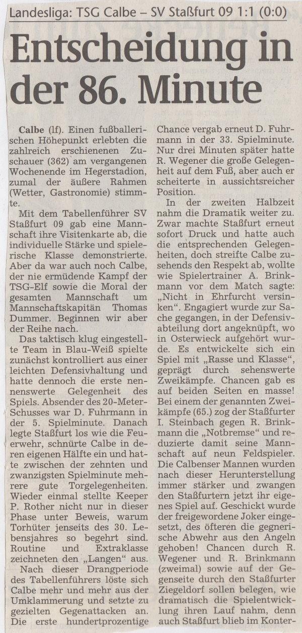 Volksstimme-Bericht vom 22. Spieltag der Landesligasaison 1997/1998 (Teil 1).