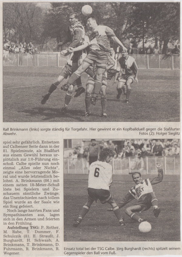 Volksstimme-Bericht vom 22. Spieltag der Landesligasaison 1997/1998 (Teil 2).