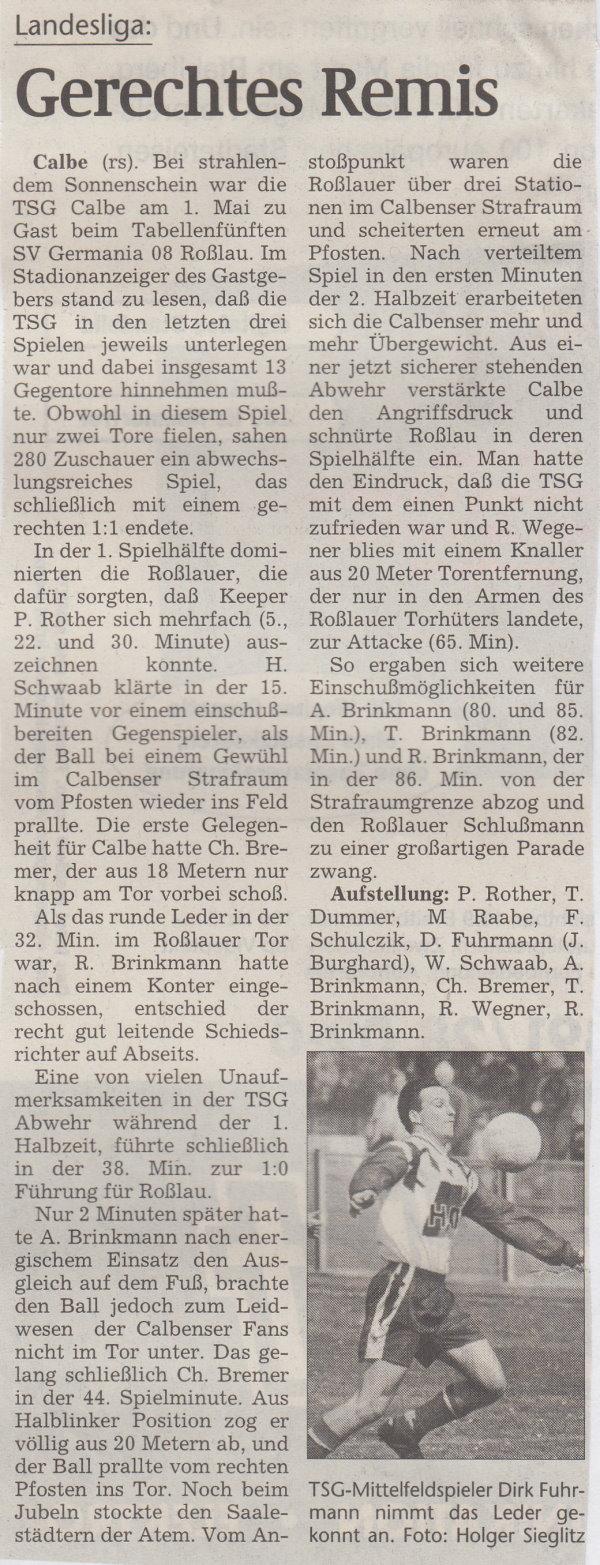 Volksstimme-Bericht vom 23. Spieltag der Landesligasaison 1997/1998.
