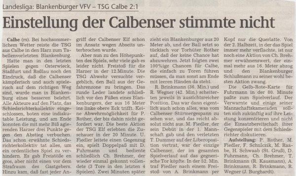 Volksstimme-Bericht vom 24. Spieltag der Landesligasaison 1997/1998.