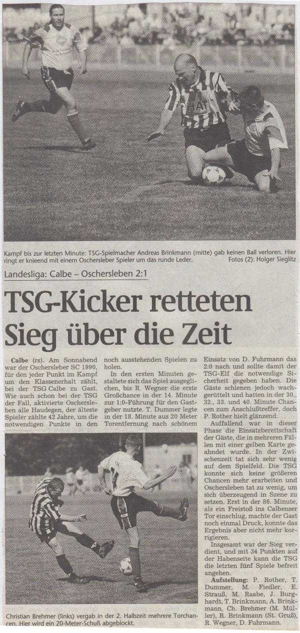 Volksstimme-Bericht vom 25. Spieltag der Landesligasaison 1997/1998.