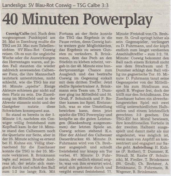 Volksstimme-Bericht vom 26. Spieltag der Landesligasaison 1997/1998.