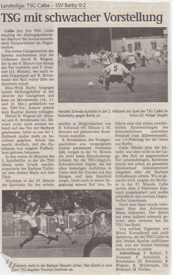 Volksstimme-Bericht vom 27. Spieltag der Landesligasaison 1997/1998.