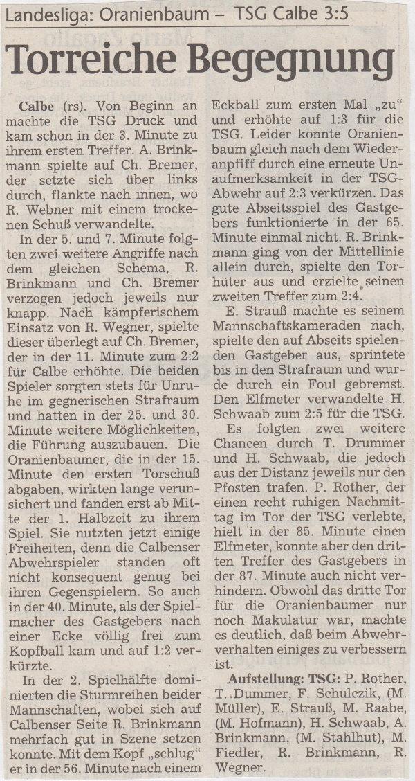 Volksstimme-Bericht vom 28. Spieltag der Landesligasaison 1997/1998.