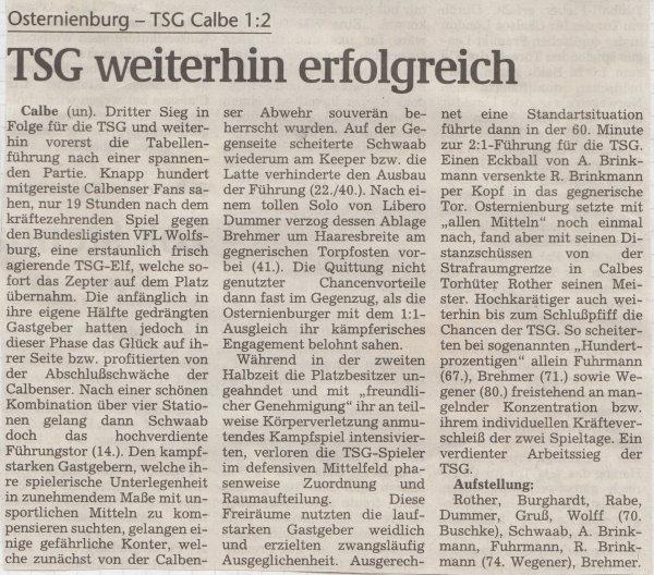 Volksstimme-Bericht vom 3. Spieltag der Landesligasaison 1997/1998.