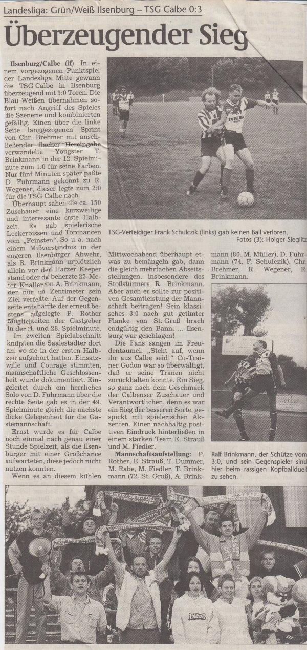 Volksstimme-Bericht vom 30. Spieltag der Landesligasaison 1997/1998.