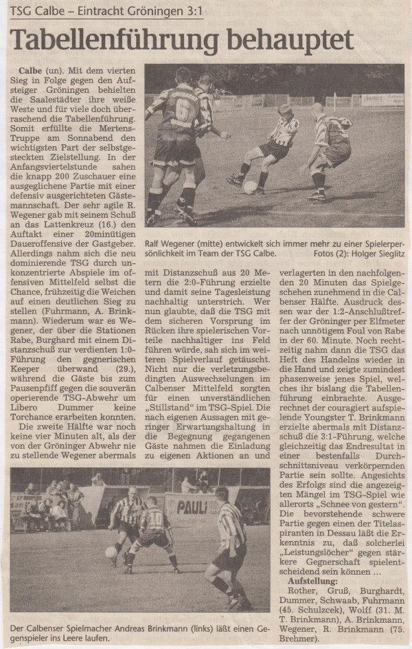 Volksstimme-Bericht vom 4. Spieltag der Landesligasaison 1997/1998.
