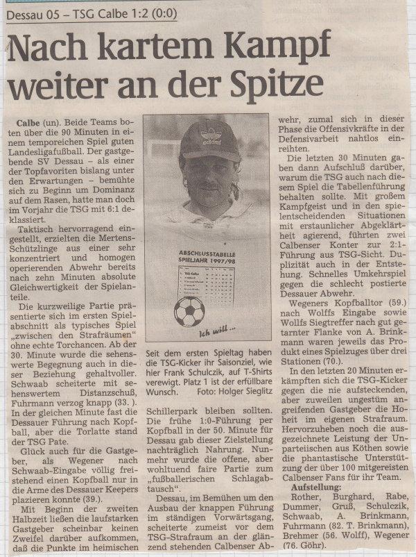 Volksstimme-Bericht vom 5. Spieltag der Landesligasaison 1997/1998.