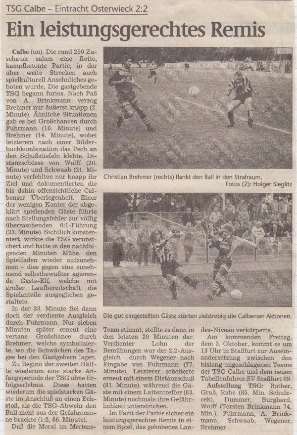 Volksstimme-Bericht vom 6. Spieltag der Landesligasaison 1997/1998.