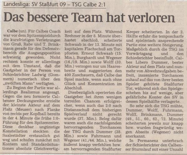 Volksstimme-Bericht vom 7. Spieltag der Landesligasaison 1997/1998.