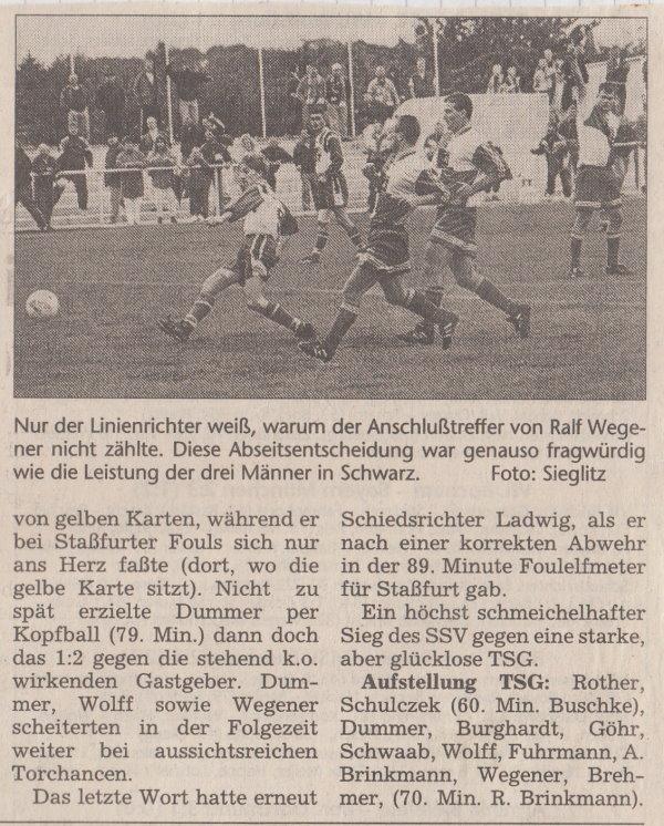 Volksstimme-Bericht vom 7. Spieltag der Landesligasaison 1997/1998 (Teil2).
