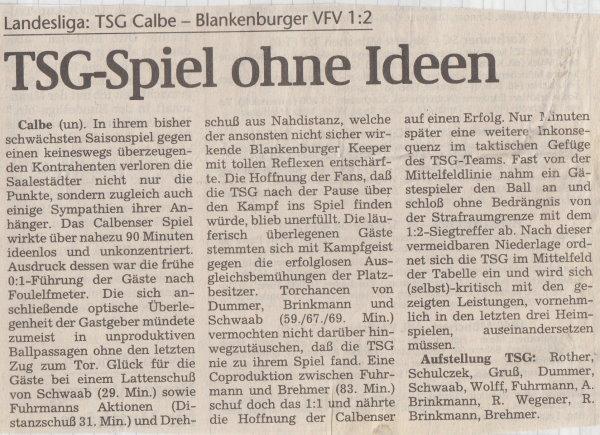 Volksstimme-Bericht vom 9. Spieltag der Landesligasaison 1997/1998.