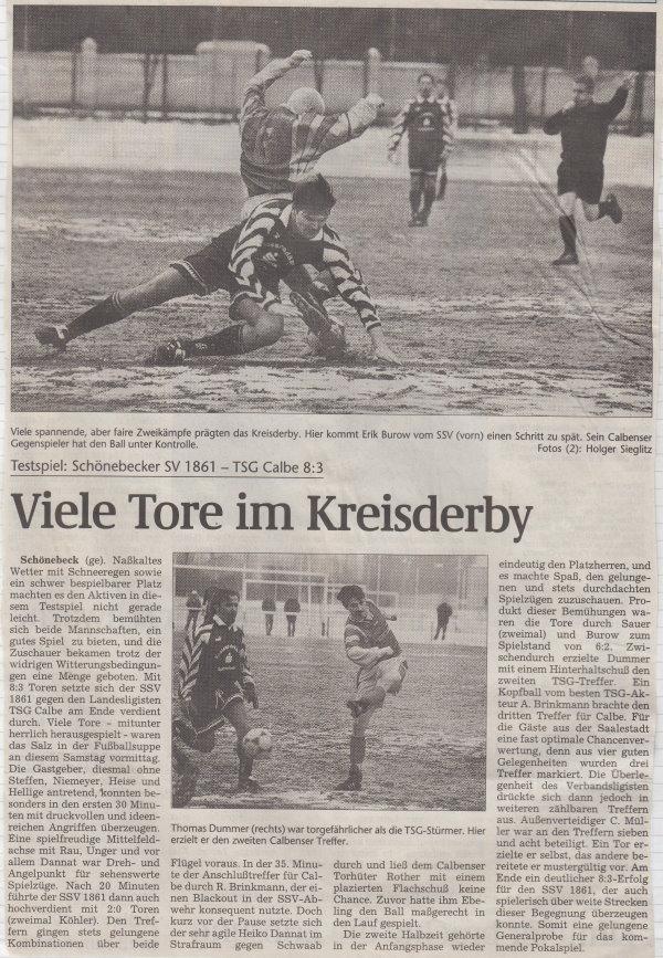 Volksstimme-Bericht zum Vorbereitungsspiel in Schönebeck zur Rückrunde.