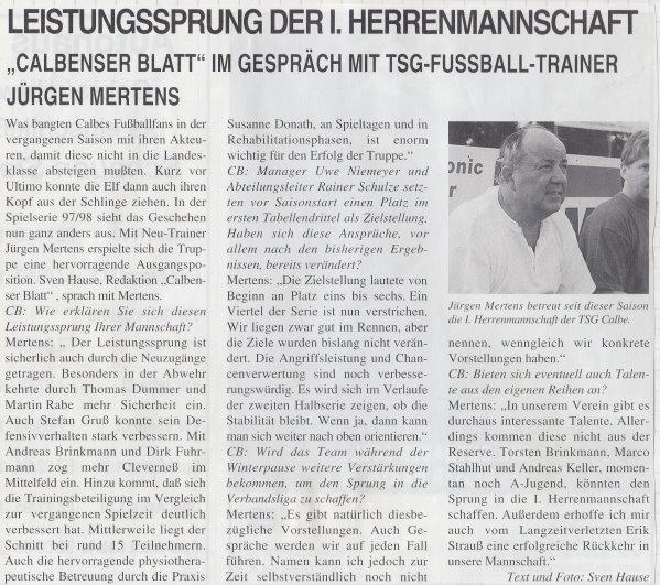 Interview mit TSG-Trainer Jürgen Mertens im Calbenser Blatt.