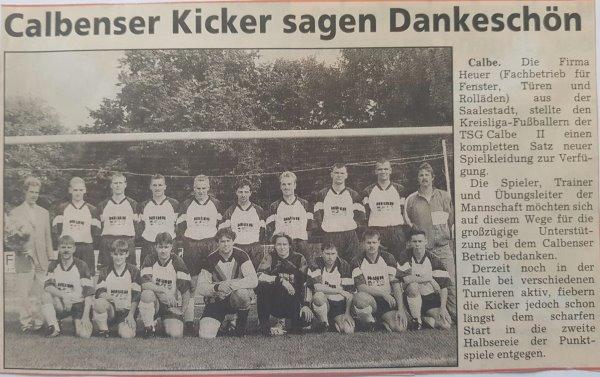 Zeitungsbericht vom Sponsoring für die zweite Mannschaft der TSG Calbe.