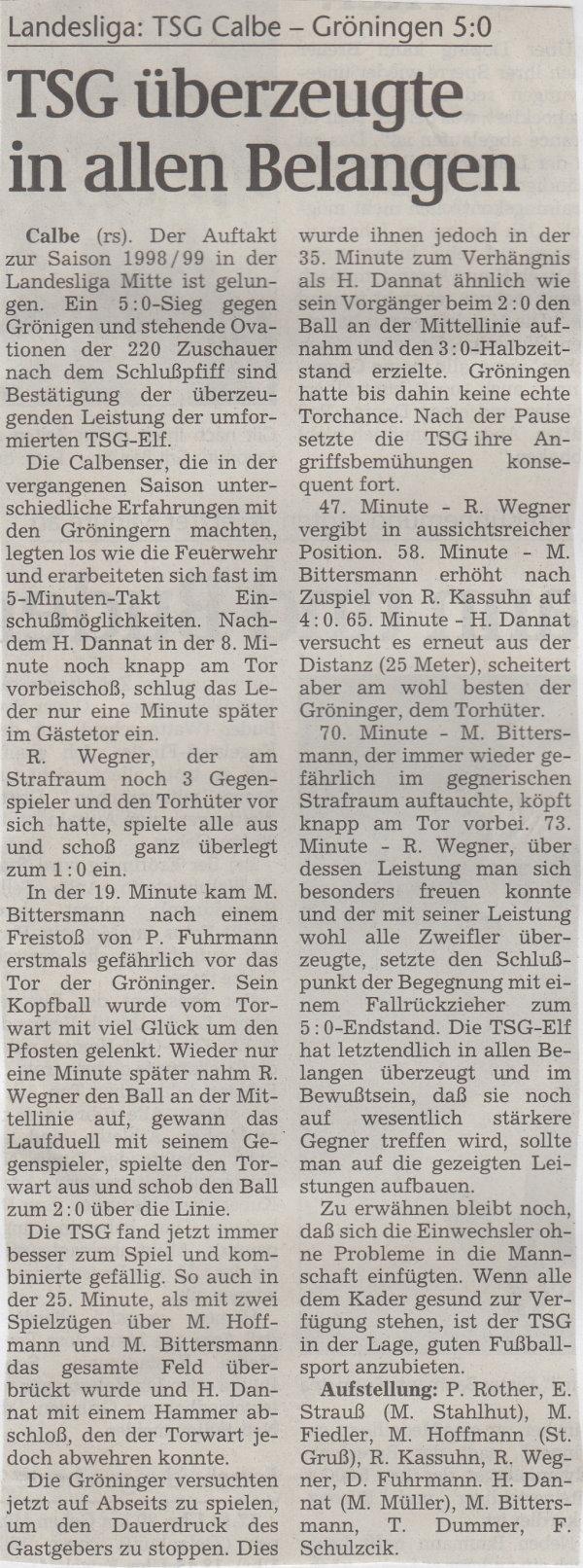 Volksstimme-Bericht vom Spiel des 15. August 1998.