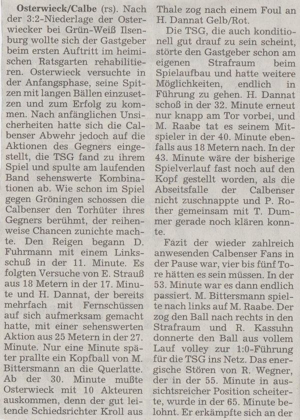 Volksstimme-Bericht vom 22. August 1998 (Teil 1).