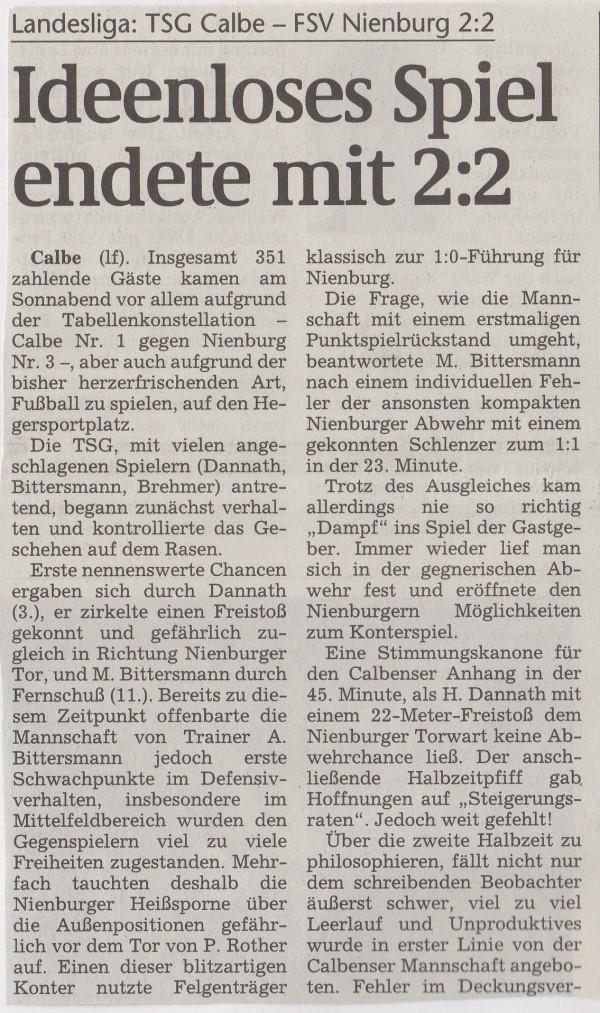 Volksstimme-Bericht vom 29. August 1998 (Teil 1).